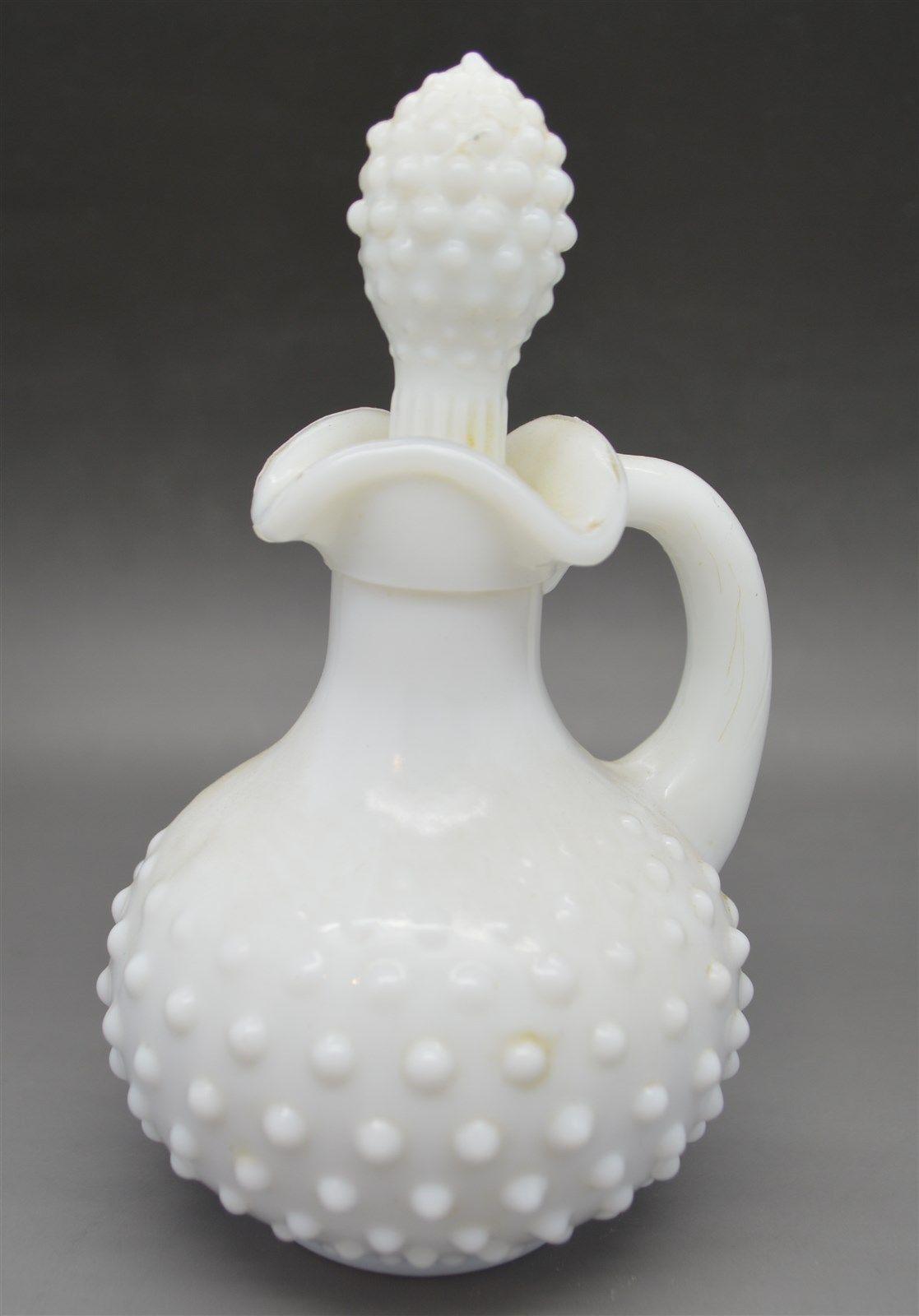 Pair Of Old Avon Milk Glass Oil Vinegar Cruet Set White Hobnail