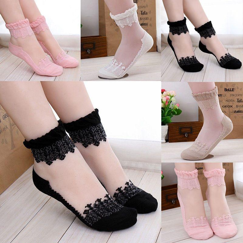 5//10 Pairs Women Ankle Socks Elastic Ultra-Thin Silk Short Nylon Breathable Soft