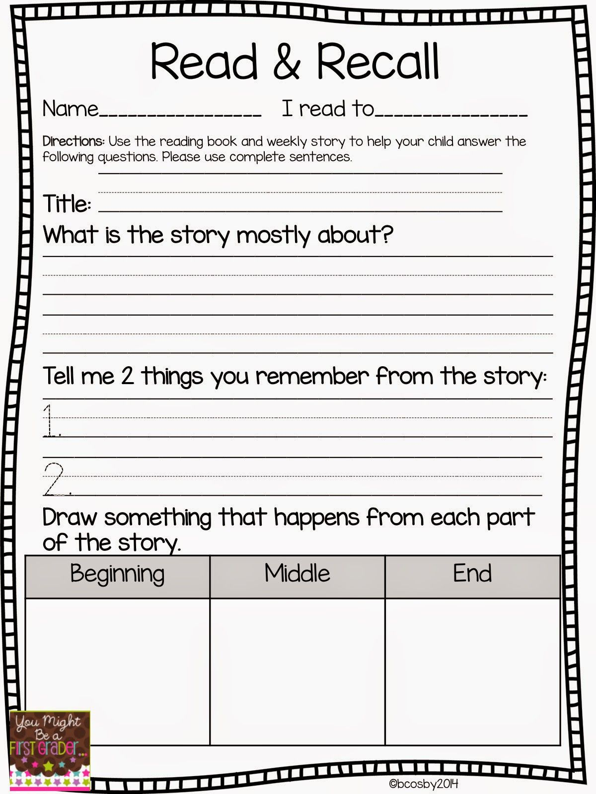 Reading Comprehension - Classroom Freebies   First grade reading [ 1600 x 1200 Pixel ]