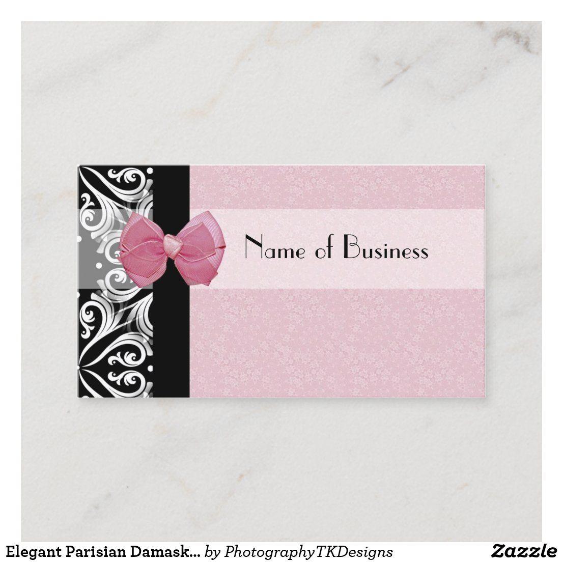 Elegant Parisian Damask Pink Ribbon Refer A Friend Referral Card Zazzle Com Pink Ribbon Business Card Pattern Business Cards Elegant