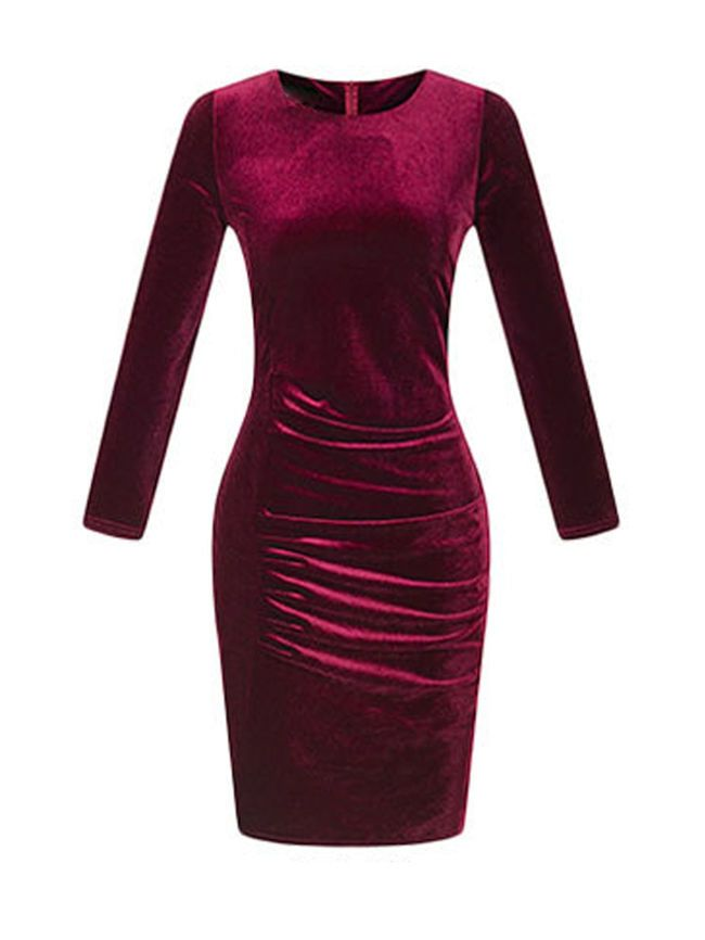 2dff0c8ccde Buy Crew Neck Plain Velvet Bodycon Dress online with cheap prices and  discover fashion Bodycon Dresses at Fashionmia.com.
