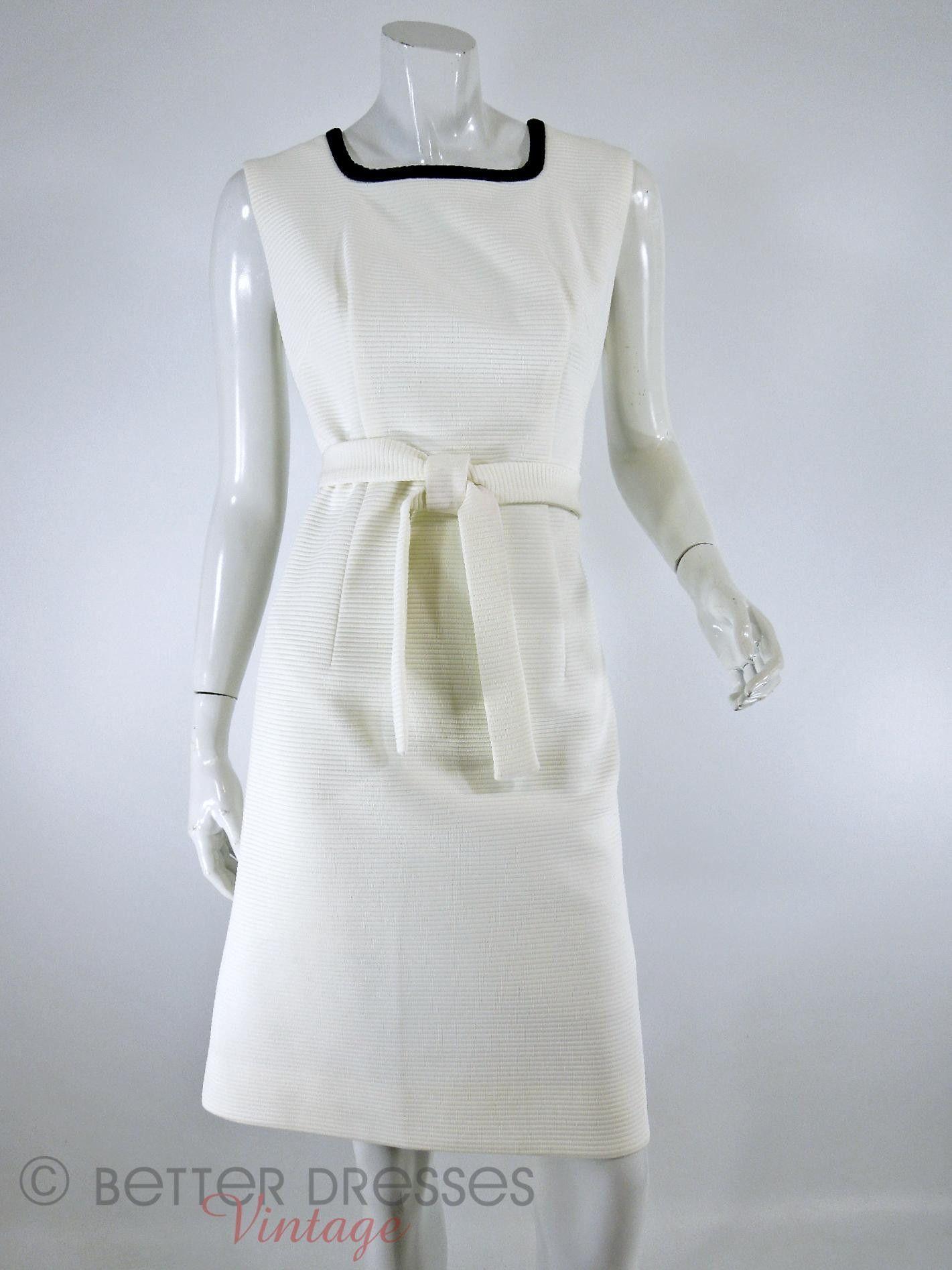 b14c2d2f37f7e9 Princess seamed sleeveless shift dress has navy blue at squared. Vintage  1960s Lilli Ann Mod Dress & Coat Set in Red White ...
