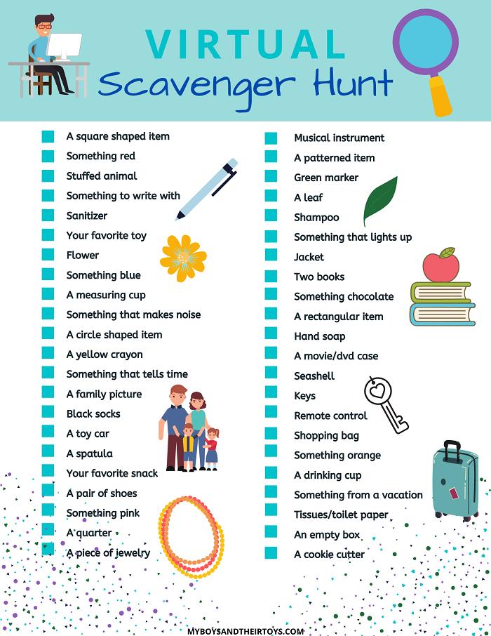 Virtual Scavenger Hunt Printable My Boys And Their Toys Scavenger Hunt Digital Learning Online Teaching