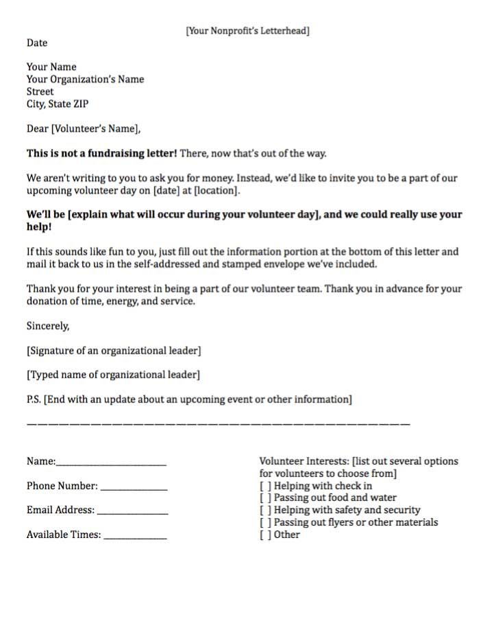 practices for writing fundraising letters asking volunteer time - sample donation letter format