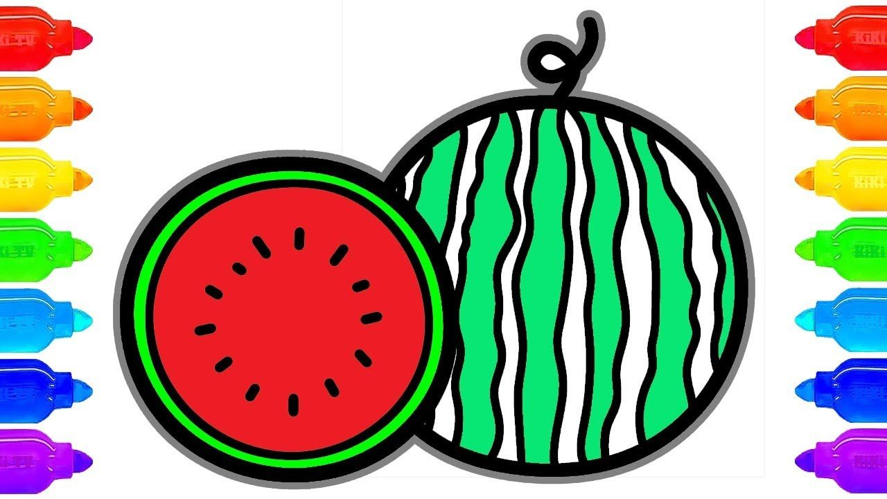 How to Draw Watermelon Coloring Pages Fruit | Art Colors for ...