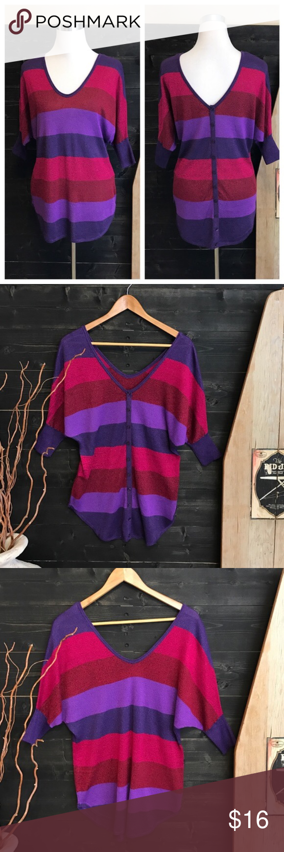 Striped Sweater Striped Sweater Buttons Down the Back - Short Sleeve Batwing Style - Gently Used Condition - Offers Welcomed Express Sweaters