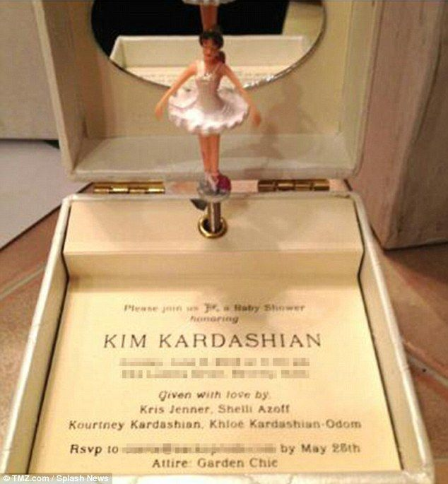 kim baby shower invite a ballerina music box complete with kanye west lullaby
