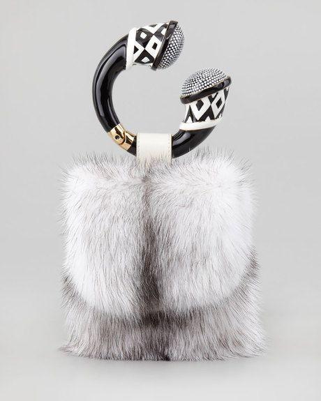 afe402eb8ab9 TOM FORD White Mink Fur Bracelet Bag Chalk - Lyst