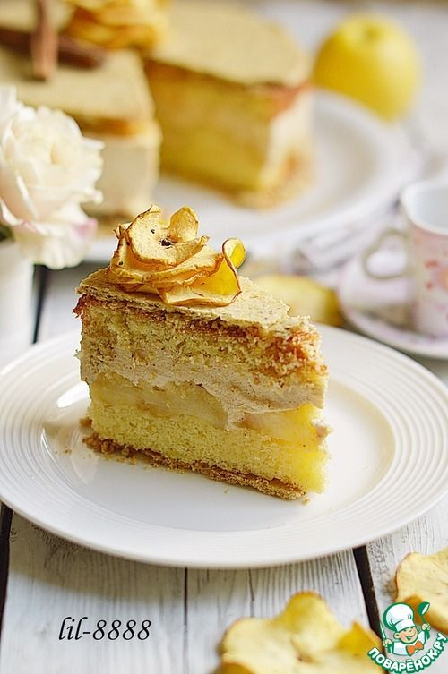 Яблочный торт с карамельным баварским муссом, пошаговый 31