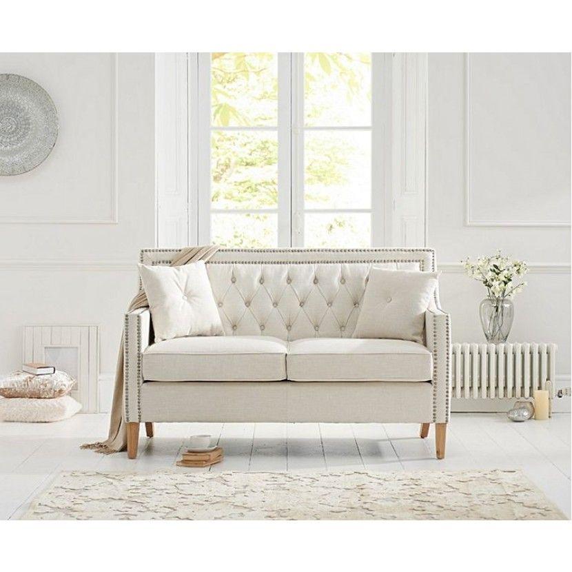 Best Casa Bella Ivory Linen Fabric 2 Seater Sofa In 2020 400 x 300