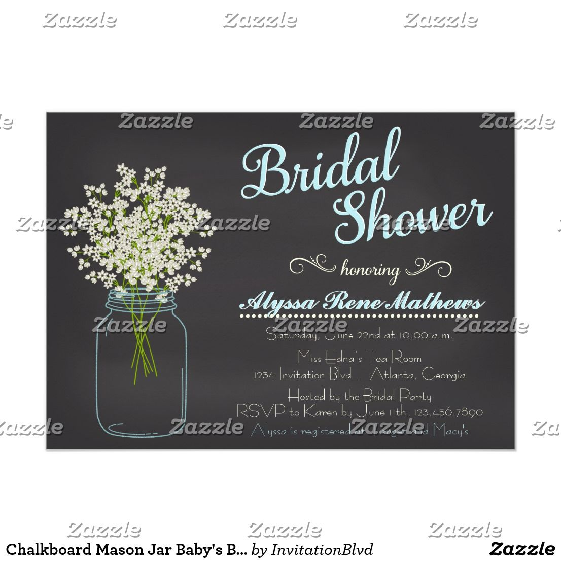 Chalkboard Mason Jar BabyS Breath Bridal Shower Card  Babies