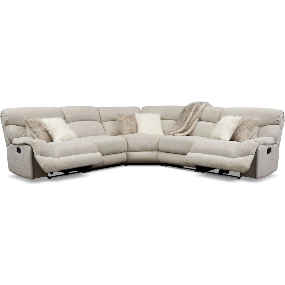 Wave 5 Piece Manual Reclining Sectional With 2 Reclining Seats Value City Fur Reclining Sectional Power Reclining Sectional Sofa Sectional Sofa With Recliner