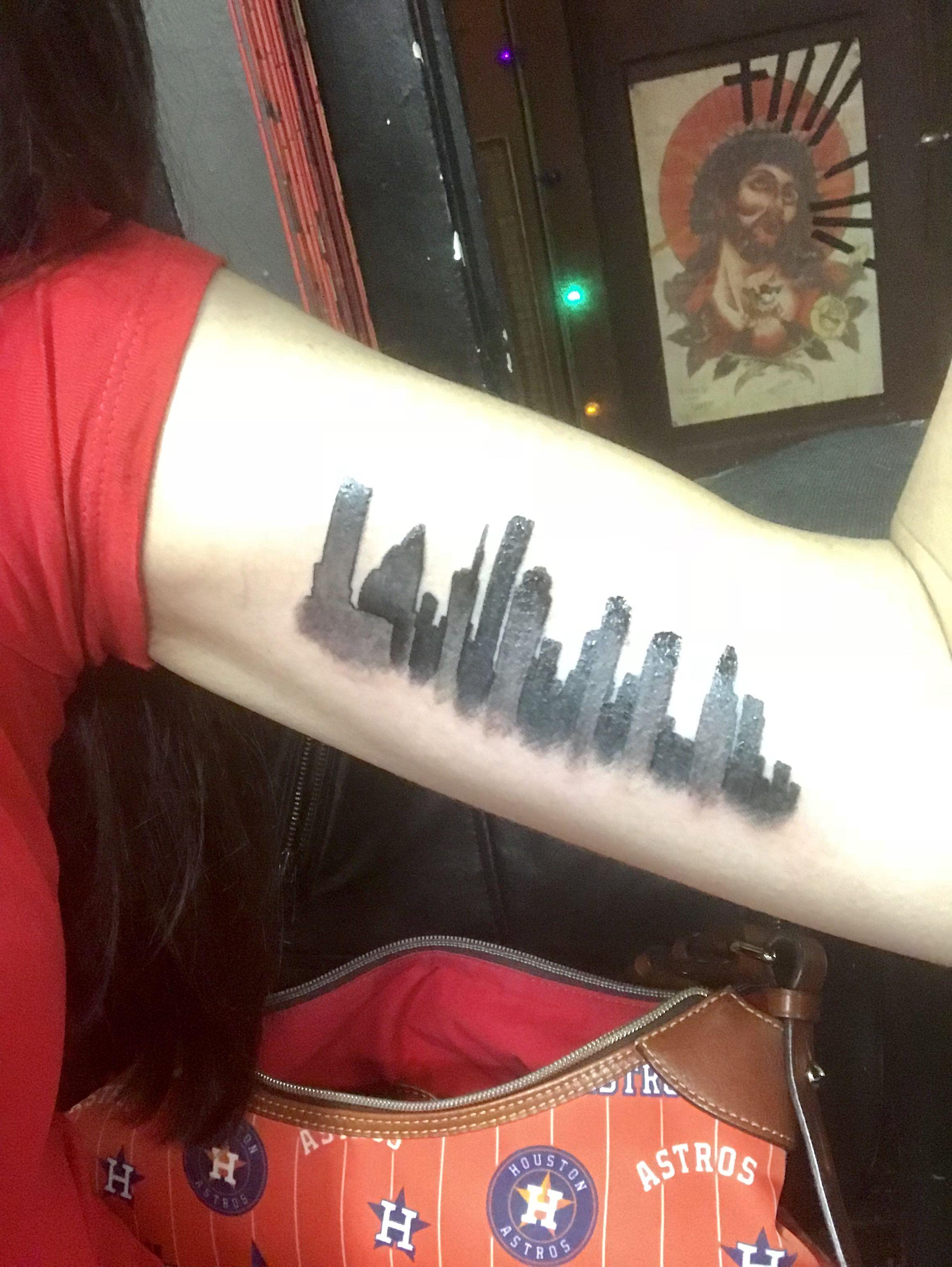 Houston skyline tattoo inkattack secrettattoo houston