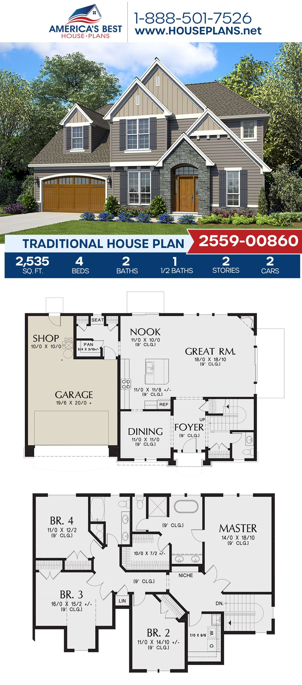 House Plan 2559 00860 Traditional Plan 2 535 Square Feet 4 Bedrooms 2 5 Bathrooms In 2020 Porch House Plans House Layout Plans Traditional House Plans