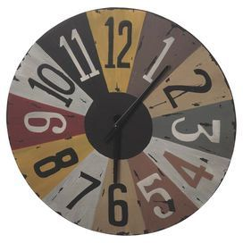 """Wall clock with a multicolor weathered finish.    Product: ClockConstruction Material: MetalColor: MultiAccommodates: Batteries - not includedDimensions: 19"""" Diameter x 1.5"""" D"""