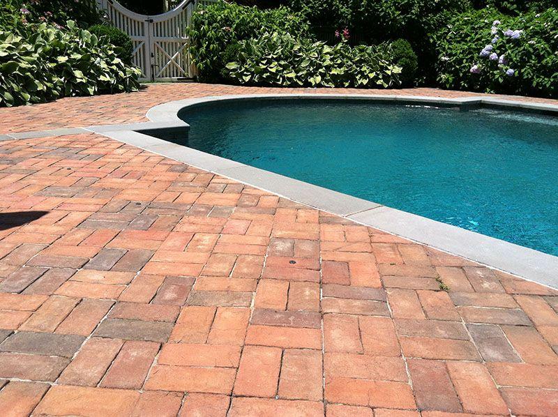 Brick Terrace Pools Google Search Brick Patios Pool Patio Pool Landscaping
