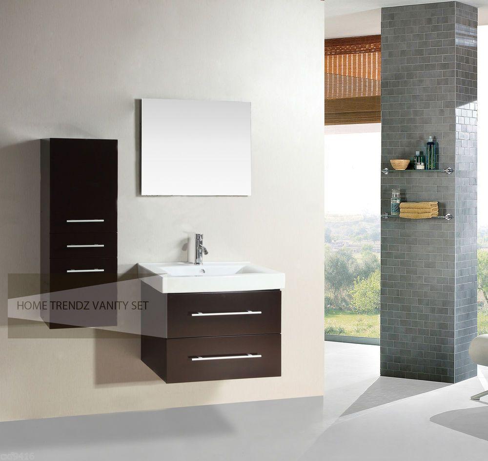 28 Inch Single Wall Mount Bathroom Vanity Cabinet With Linen Cabinet U0026  Mirror