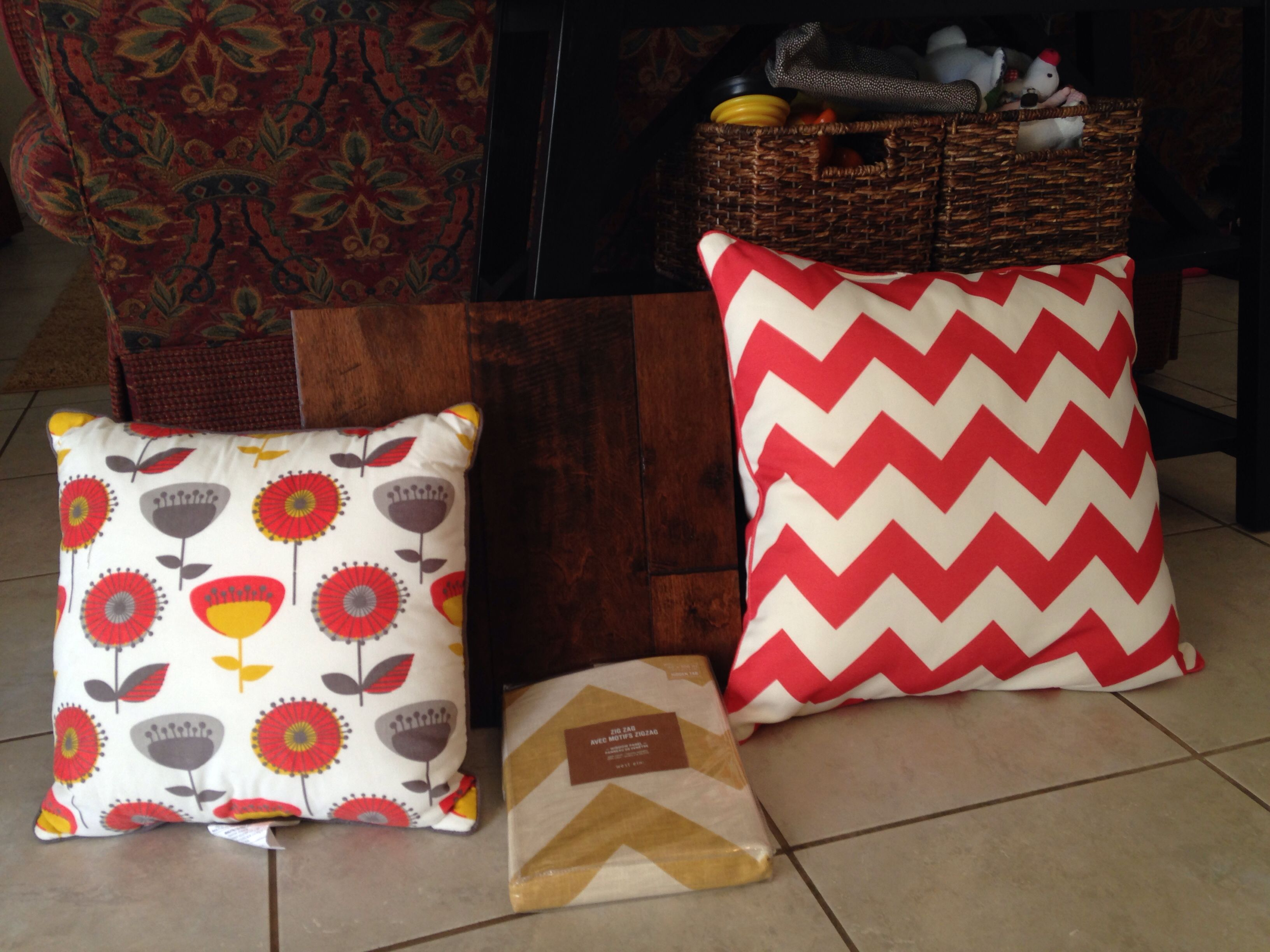 Color scheme for family room...pillows from Target of course ...