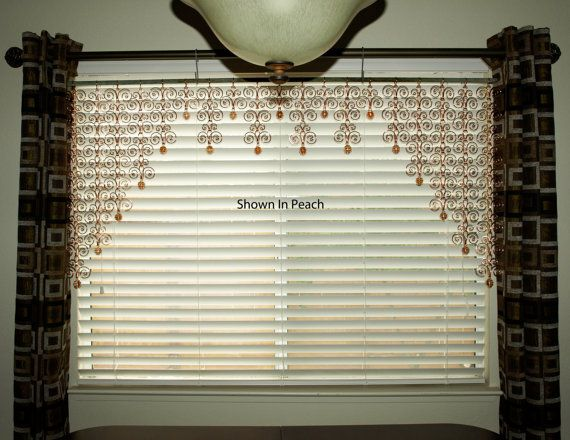 60 x 28  Solid Copper  Valance Sun Catcher Swirl Curtain Wall Hanging With a Large Swirl End Piece