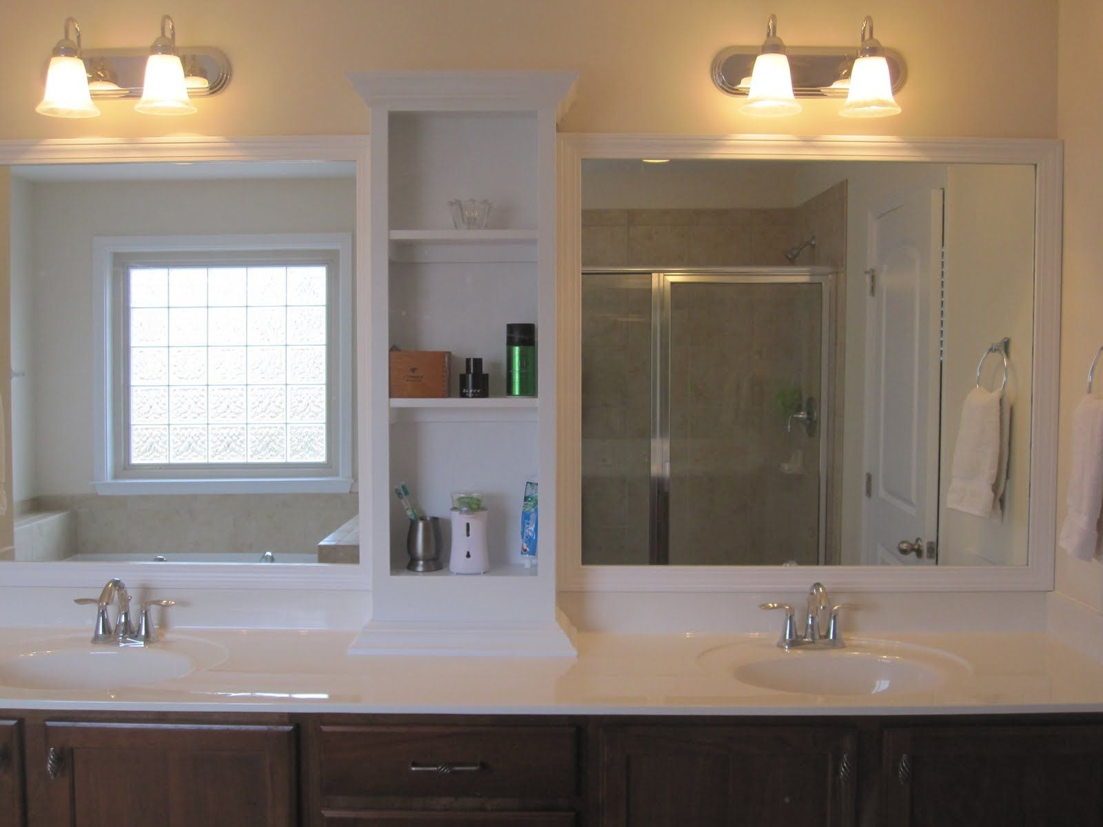Create Photo Gallery For Website Best Of Ikea Bathroom Shelf With White Top And Undermount Sink With Chrome Faucet On Brown Cabinet And White Tall Satin Rack In Middle Beveled Mirror Trim