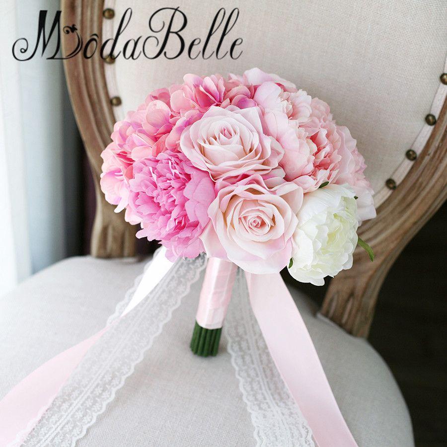 Modabelle Artificial Silk Rose Hydrange Pink Wedding Bouquet For