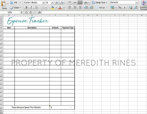 expenses tracker excel sheet