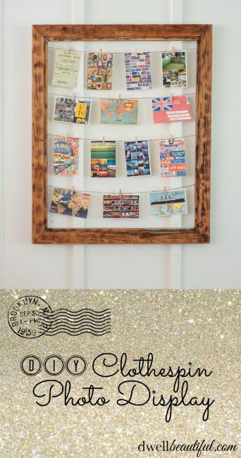 Clothespin Photo Display Frame | Pinterest | Clothespin photo ...