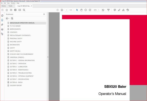 Case Ih Sbx520 Baler Operators Manual Pdf Download Heydownloads Manual Downloads In 2020 Case Ih Manual Pdf Download
