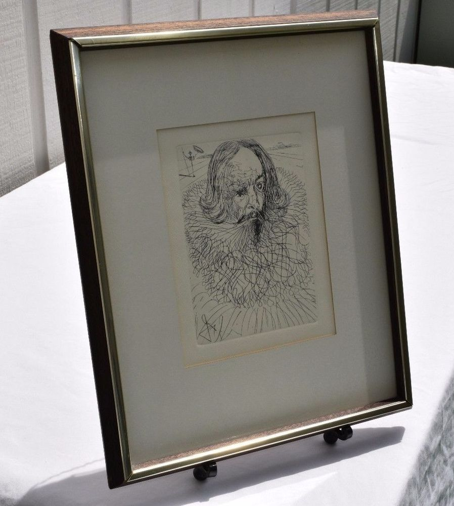 SALVADOR DALI ETCHING W/ COA - CERVANTES - COLLECTORS GUILD