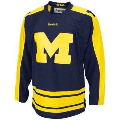 Reebok Michigan Wolverines Edge Hockey Jersey Navy Blue Michigan Hockey Hockey Jersey Michigan Athletics