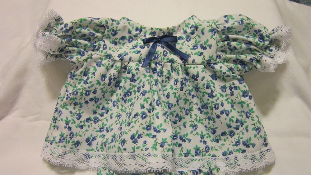 """Blue/Green Floral Print Dress/Bloomers fits 16-18""""Cabbage Patch/Beren Babies #KindredHeartsDesigns"""