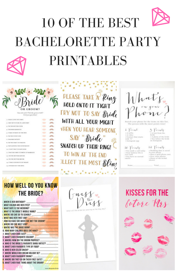photograph regarding Free Printable Bridal Shower Games How Well Do You Know the Bride known as 10 Bachelorette Social gathering and Bridal Shower Online games Cost-free Printables