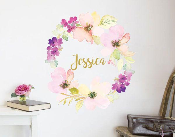 flower name wreath decal i | v&i bedroom | kids room murals, flower