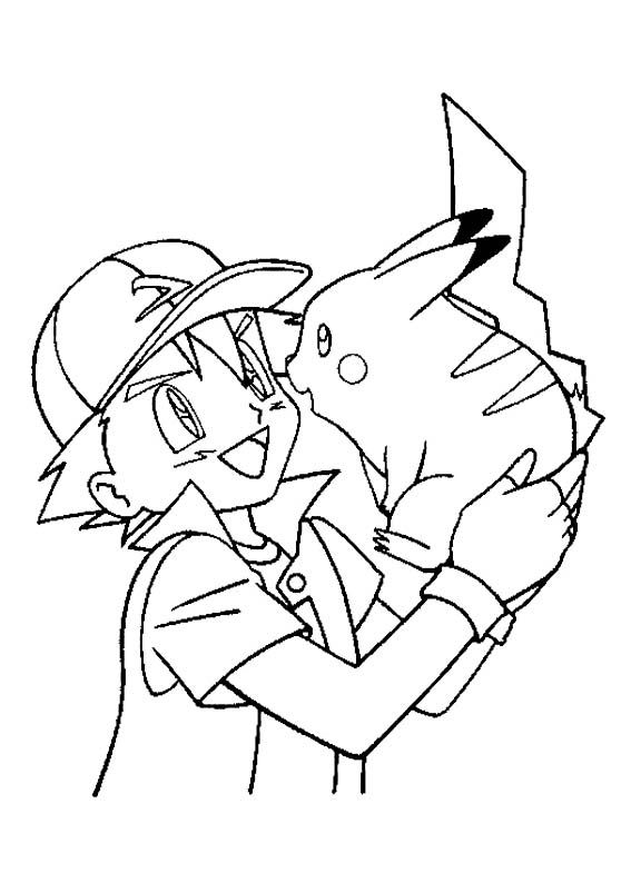 Ash ketchum care with pikachu coloring page