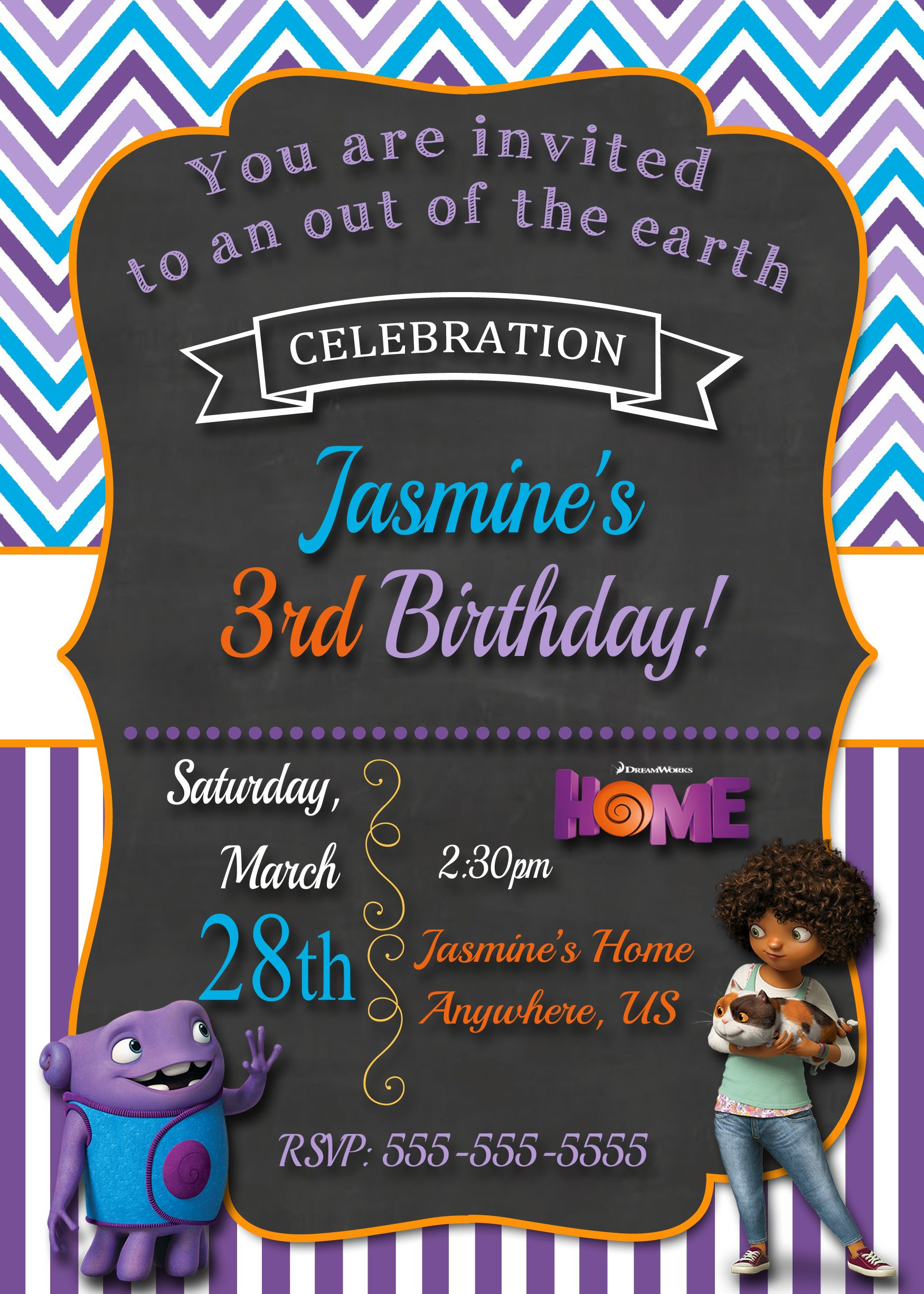 Dreamworks Home Movie Birthday Invitations 899 available at www