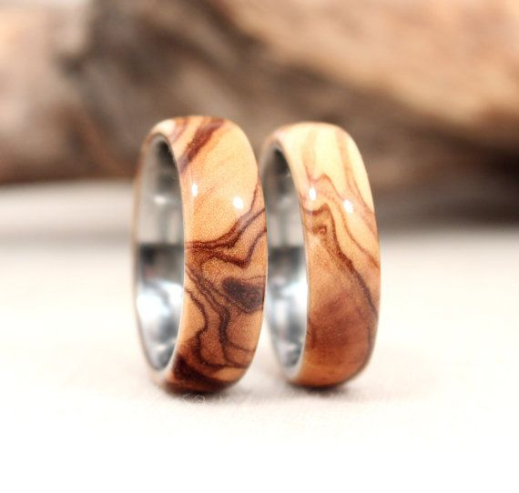 Matching Pair Titanium Lined Wood Rings by WedgewoodRings on Etsy