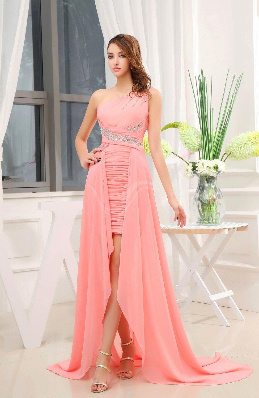 Coral disney princess aline sleeveless chiffon court train prom