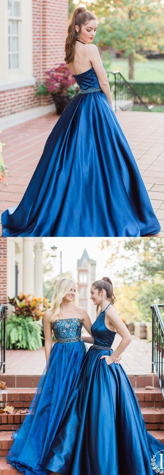 Halter navy blue long prom dress prom dress party dress prom