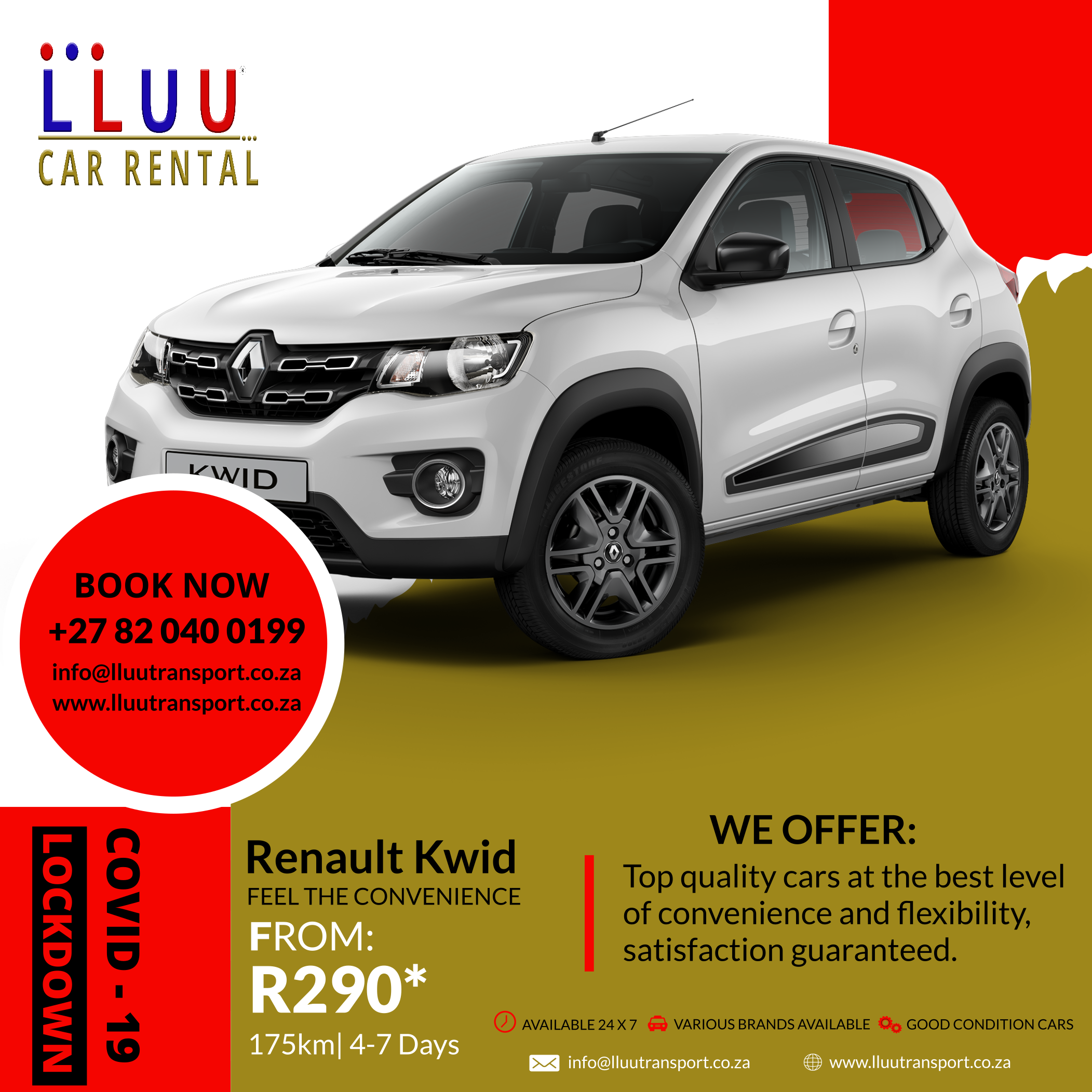 The easiest way to get car rental at affordable rates is to book from @LluuCar_Rental. Get Renault Kwid for 175km | 4-7 days from R290*. EFT & CASH PAYMENTS ACCEPTED! Book Now! +27 82 040 0199.  #EverydayDeals #carhire #bookacar #rentacar #renaultkwid #lluucarrental