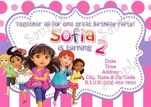 dora and friends, dora and friends birthday party invitation, dora, Birthday invitations