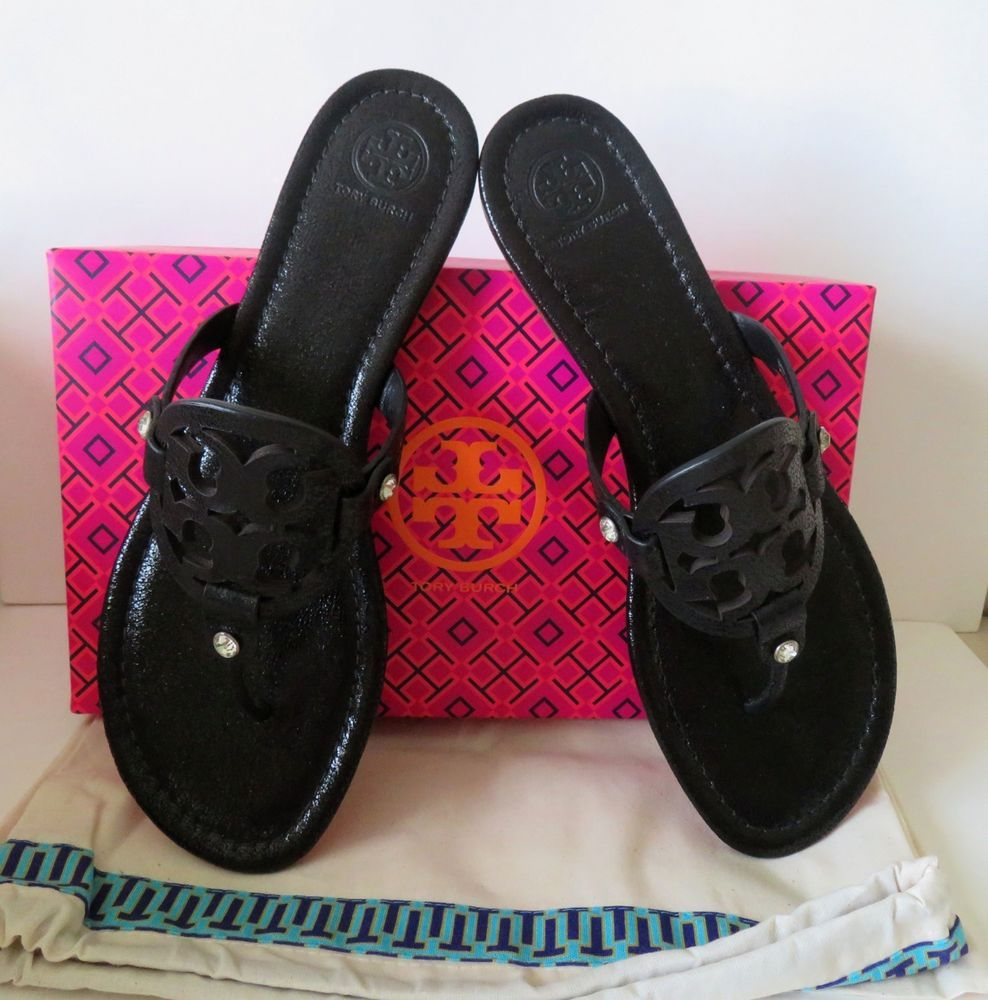 5fe80ce23d6d NIB TORY BURCH Black Miller Thong Sandals Size 11 Black Embellished Leather   ToryBurch  Thong