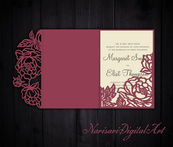 Tri fold peonies 5x7 wedding invitation pocket envelope for Pocket wedding invitations cricut
