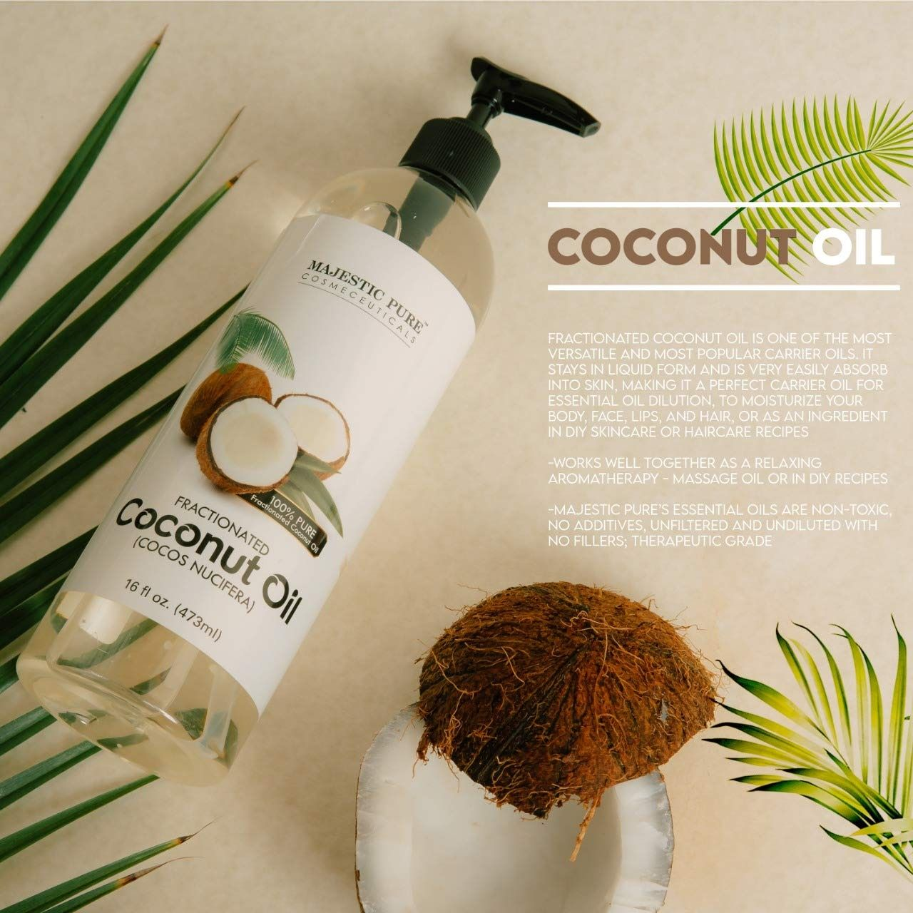 Majestic Pure Fractionated Coconut Oil For Aromatherapy Relaxing Massage Carrier Oil For Diluting In 2021 Aromatherapy Massage Oils Coconut Shampoo Diy Skin Care
