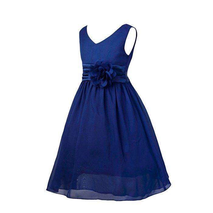 6e74c84d8 iEFiEL Vestido Elegante de Princesa sin Mangas para Niña Vestido Infantil,  Azul Marino, 10 Años
