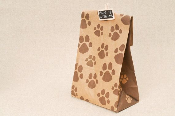 Perfect 10 paw print bags - kraft paper bags with dog or cat pet paw print  CA24