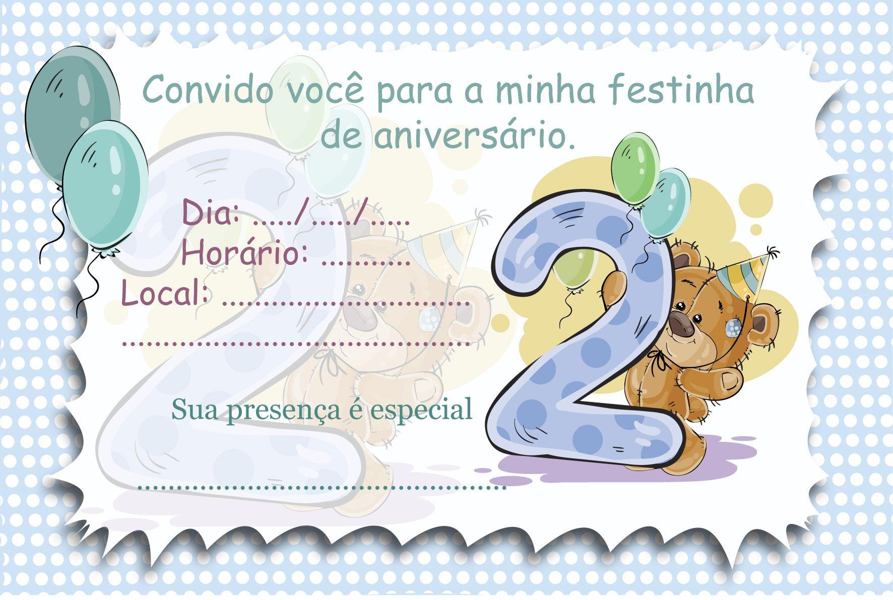 Convites Aniversario De 6 Anos: Convite Para Aniversário De 2 Anos