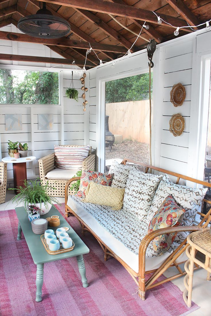 Shed Turned Boho Screened Porch House With Porch White Plank