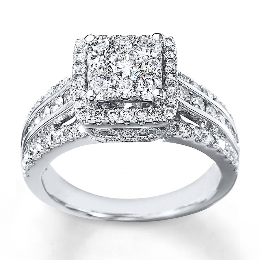 diamond engagement ring 1 12 cts tw round cut 14k white gold - Wedding Rings At Kay Jewelers