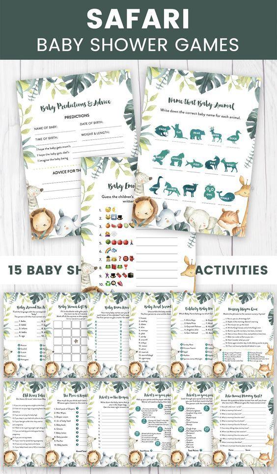 Safari Baby Shower Game pack, Jungle Baby Shower Games, Safari Animals Baby Shower Activity, Tropical theme Baby Shower Games, BBS136