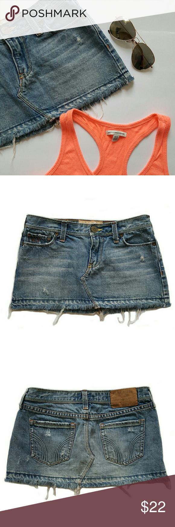 "Hollister Denim Skirt Hollister Denim Skirt Size: 0 100% Cotton Length- 10"" Hollister Skirts Mini"